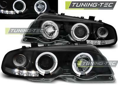 Coppia Fari Anteriori Bmw E46 04.99-03.03 Coupe Angel Eyes Black Look