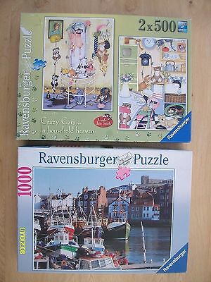 Three Ravensburger Jigsaws (2 x 500 & 1 x 1000). All 3 Are Complete