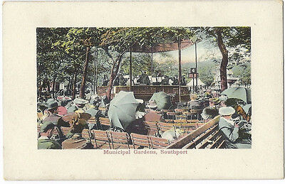 Old local postcard Municipal Gardens, Bandstand, SOUTHPORT