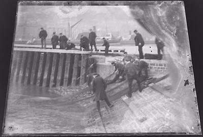 Fishermen and Their Nets - Antique Edwardian Glass Negative c1900