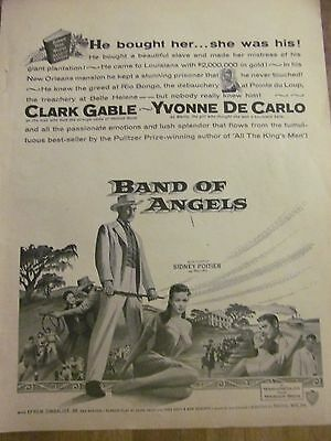 Band of Angels, Clark Gable, Yvonne DeCarlo, Full Page Vintage Promotional Ad