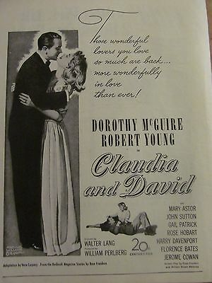 Claudia and David, Dorothy McGuire Robert Young Full Page Vintage Promotional Ad
