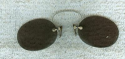 Antique Old Sun Glasses Sunglasses Pince Nez Style Pinch On Nose Style