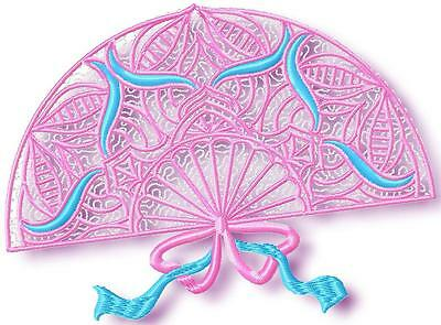 Delicate Fans  10 Machine Embroidery Designs Cd 2 Sizes
