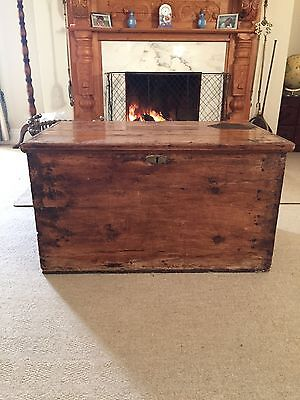 Antique Pine Blanket Box / Chest / Storage Trunk / Rustic Coffee Table