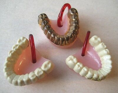 VINTAGE Plastic DENTURES FALSE TEETH Gumball Toy Charms Prize Lot