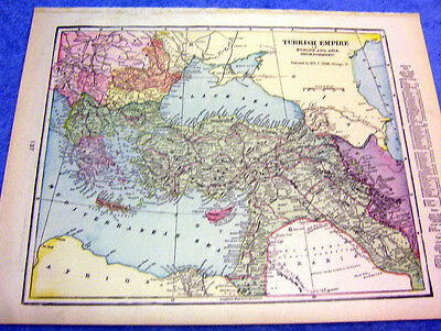 Antique Map Of The Turkish Empire  Nicely Colored & Historical  From 1899  Look!