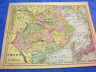 Antique 1901 Map Of China W/ The Great Wall & Mountain Ranges  114 Years Old