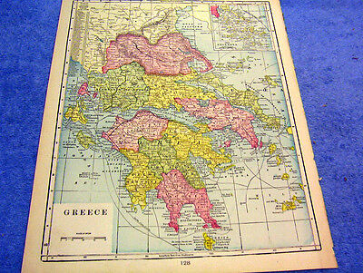 Antique Map Of Greece Nicely Colored & Historical  From 1899  Look!
