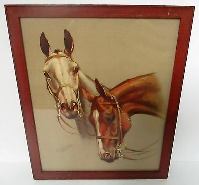 Vintage Pair Of Race Horses Lithograph Print Fox Hunters J. Symes Framed Bridle
