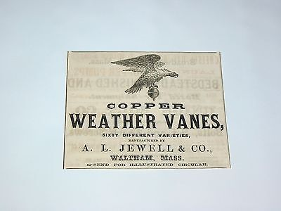 Vtg 1865 A.L. Jewell & Co. COPPER WEATHER VANES Waltham Ma. Original Print Ad