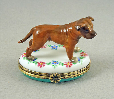 NEW HAND PAINTED FRENCH LIMOGES TRINKET BOX PIT BULL TERRIER DOG ON flowers