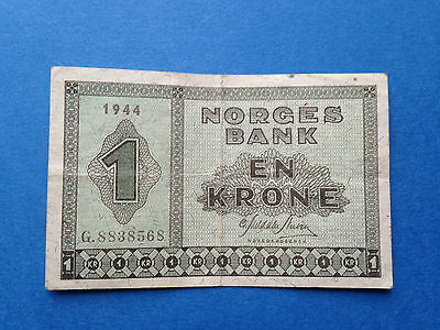 1944 Norway 1 Kroner, Pick 15a, GVF condition