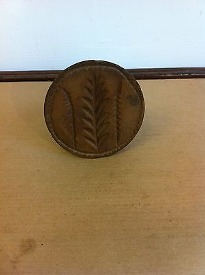 DECORATIVE VINTAGE CARVED WOODEN BUTTER STAMP - LEAVES 3 inches