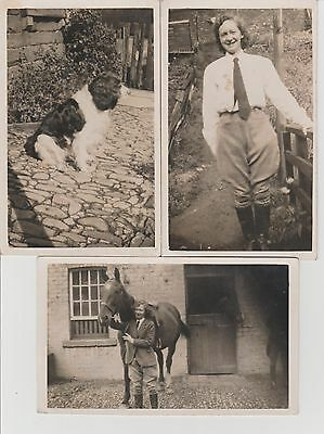 3 x Galashiels Area Lady Horserider Horse & Spaniel Dog RPPC c1930/40s JT Wilkie
