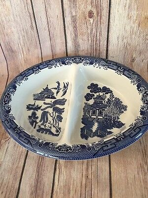 1 Divided Serving Bowl Blue Willow Churchill England  EUC
