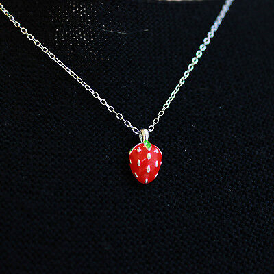Sweet Red Strawberry Fruit Sterling Silver Necklace Earrings Studs Set Kids