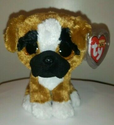"""Ty Beanie Boos ~ BRUTUS the 6"""" Boxer Dog ~ 2015 NEW Stuffed Animal Toy ~ IN HAND"""