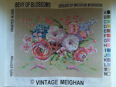 """Needlepoint Tapestry Embroidery Canvas Pillow Vintage Meghan """"Bevy of Blossoms"""""""