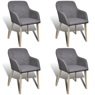 New 4 pcs Fabric Dining Chair Set with Oak Legs Dark grey Kitchen Furniture