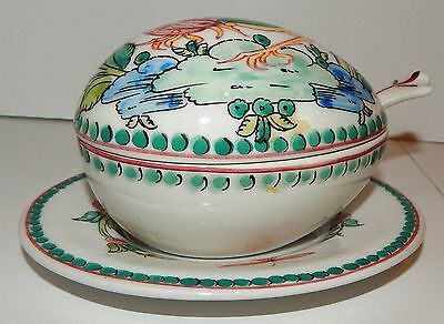 Delightful Continental Hand Painted Sauce Boat With Spoon & Cover