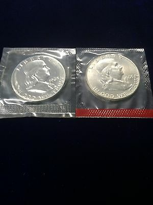 1963 Proof, 1963D Franklin Half Dollars Sealed In Mint Cello Free S/H 90% Silver
