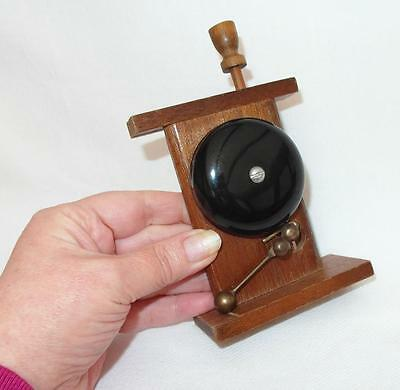 Vintage Hand Made Push Top COUNTER SERVICE BELL Wooden Frame with Metal & Brass