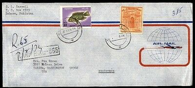 February Seventh 1974 Pakistan Registered Airmail Cover To Washington