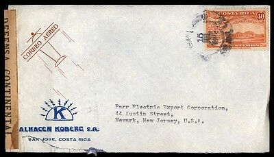 Costa Rica 40 rate single commercial censored cover to New Jersey