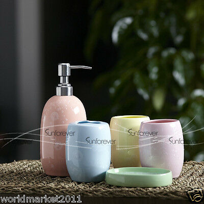 A6 Multi-Coloure 5-in-1 Soap Dish/ 2Tooth Mugs/Emulsion Bottle/Toothbrush Holder