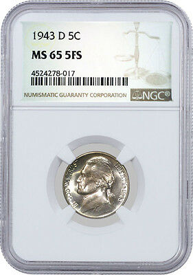 1943 D 5C Jefferson Silver War Nickel NGC MS65 5FS
