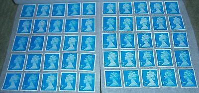 50 Unfranked 2nd Class Stamps Removed from Paper And Still With Gum