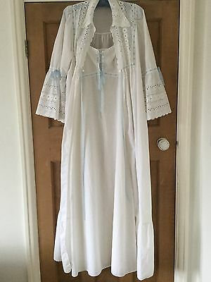 Original Vintage 60s 70s Deco Style Broderie Anglaise Nightie & Nightgown