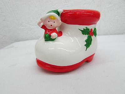 Vintage Christmas Miniature Inarco Ceramic Pixie Elf On Boot Planter