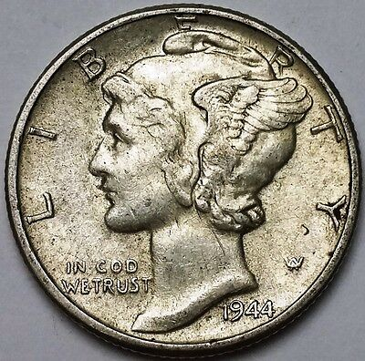 1944 Mercury Dime - 10 Cents - Great Condition - Free Combined S/H