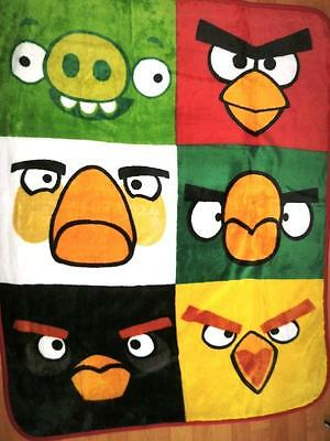 ANGRY BIRDS CHARACTERS SOFT PLUSH blanket THROW  ++ RED BIRD CANVAS TOTE BAG NEW