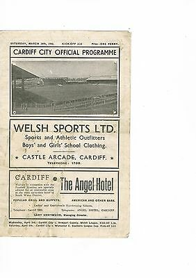 Cardiff City v Swindon Town 45/6 March 30th
