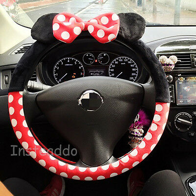 Cute Mickey Fluffy Steering Wheel Cover/ Glove Pinky Universal Fits Dia 37-39cm