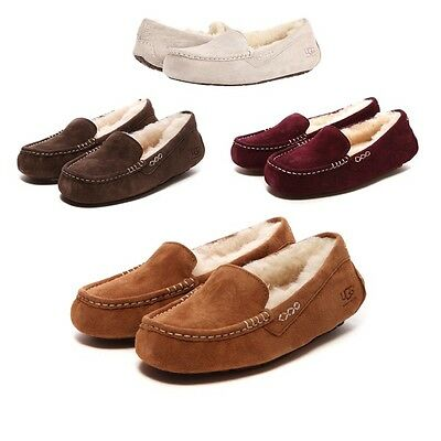 Women's Shoes UGG Ansley Moccasin Slippers Chestnut Chocolate Mahogany New 3312