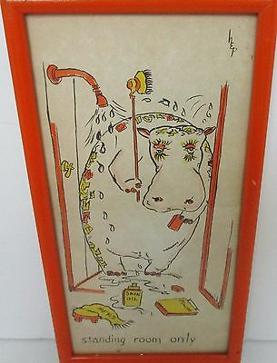 Vintage Mid-Century Pen Ink Watercolor Illustration Cartoon Hippo Signed HEP