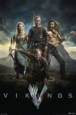 VIKINGS! ~ CAST STORM CLOUDS ~ 24x36 TV Show Poster Ragnar NEW/ROLLED!