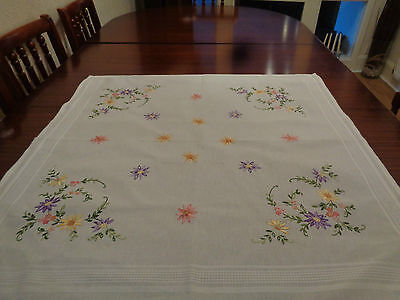 Vintage Cotton Hand Embroidered Table Cloth
