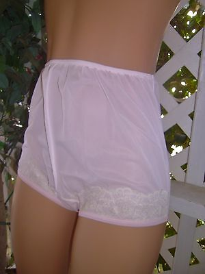 Vintage Dixie Belle  Baby Pink Nylon & Lace Granny Panty 9/2X ~ Nwt
