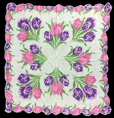 VTG Ladies Handkerchief Hanky Scalopped Edges pink purple Tulips Green Foliage