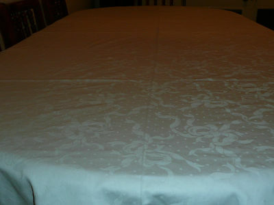 """Vintage Large Polyester& Cotton White Damask Table Cloth.68"""" X 102"""""""
