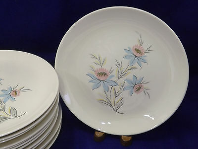 Steubenville Fairlane Dinner Plates Pink Blue Lotus Flowers sold in sets of 4