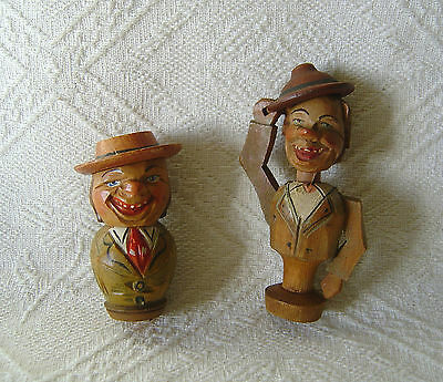 Two Vintage Anri Carved Bottle Stoppers - Mechanical - Hat Tippers