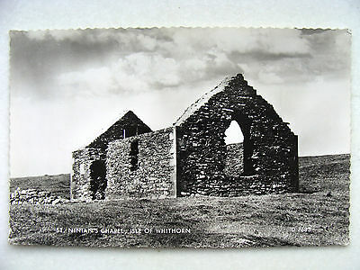 Isle of Whithorn Wigtown St. Ninian's Chapel Valentine RP Used 1966 Stranraer PM