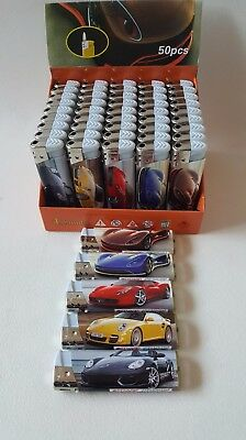 50 Lighters JAG PORCHE FAST CAR Cars Wholesale Resell REFILLABLE ELECTRONIC