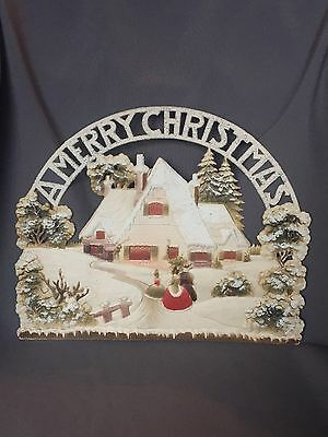 Large Antique Merry Christmas Dresden Die Cut House Carolers Snow Paper Relief